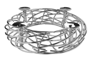 Fink Corona  Stumpenkerzenleuchter  4-flammig  Aluminium  Edelstahl   vernickelt  silberfarben  Höhe 20 cm  Durchmesser 80 cm 127193