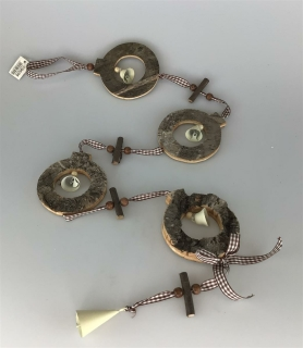 Gilde Holz Girlande mit Glocken L: 102cm