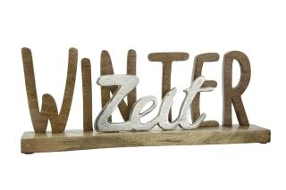 """Gilde Schriftzug """"WinterZeit"""" auf Holz-Base in Aluminium und Mango-Holz, natur, silber L=7,5 cm B= 43,5 cm H= 16,5 cm 23542"""