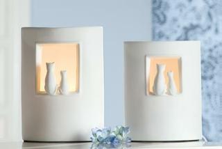 Gilde Porzell Lampe Katzenpaar 34271