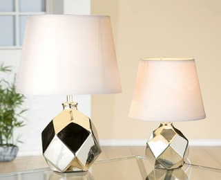 """Gilde Lampe """"Atonium"""" platin  220-240 V max. 40 Watt Fassung E 14 weisser Schirm 14 x 20 x 15 cm weisses Kabel 34610"""