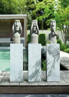 """Gilde Skulptur """"Nichts sehen"""" beige, braun gewischt 14 Kilo schwer 65 cm 34628"""