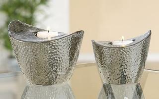 "Gilde Keramik Teelichthalter ""Circular"", silber   T=14 cm B=14,5 cm H=12 cm"