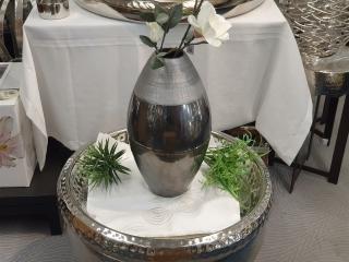 Gilde Keramik Ovale Vase Platino