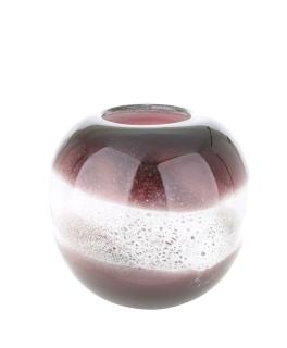 """Gilde GlasArt Vase rund """"Grano"""" magenta/weiß L=22,5 cm B= 22,5 cm H= 20,5 cm 39660"""