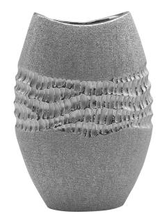 """Gilde Ovale Vase """"Splendor"""" silber Länge 9,0 cm Breite 18,0 cm Höhe 25,5 cm 43796"""