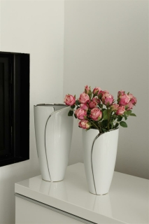 """Gilde Vase """"Flores""""  weiß, silber  Länge 16,0 cm Breite 16,0 cm Höhe 29,5 cm 43805"""