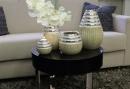 """Gilde Konische Vase """"Newtown"""" creme matt, silber glänzend L=13,5 cm B= 13,5 cm H= 21,0 cm 43908"""