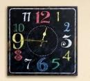 Gilde MDF Wanduhr m.farbigen Ziffern quadratisch, Hintergrund dunkelbraun  Länge 4 cm Breite 40 cm Höhe 40 cm 44896