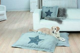 "Gilde Textil Hundebett  Kissen""My Star"" grau,hellgrau Länge 65 cm Breite 65 cm  48158"