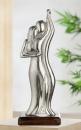 "Gilde Figura ""Tanzrunde"" Skulptur aus Aluminium, Sockel aus Mangoholz silberfarben, braun Breite 15,0 cm Höhe 40,0 cm 48288"