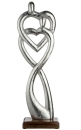 "Gilde Figura ""Verbundenheit"" Skulptur aus Aluminium, Sockel aus Mangoholz silberfarben, braun Breite 16,0 cm Höhe 51,0 cm 48289"