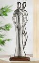 """Gilde Figura """"Miteinander"""" Skulptur aus Aluminium, Sockel aus Mangoholz silberfarben, braun Breite 15,0 cm Höhe 41,0 cm 48290"""