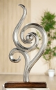 "Gilde Skulptur Figura ""Schwungvoll"" Figur aus Aluminium, Sockel aus Mangoholz  Länge 20,0 cm Breite 5,0 cm Höhe 40,0 cm 48429"