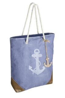 """Gilde Tasche """"Anker"""" blau/weiß/braun, mit Reißverschluss, Kordelgriff + Holzanker 85% Baumwolle 10% Kunstleder 5% Metall Breite 41,0 cm Höhe 43,0 cm 48445"""