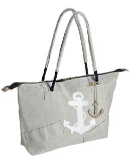 """Gilde Tasche """"Anker"""" grau/weiß, mit Reißverschluss, Kordelgriff + Holzanker 90% Baumwolle 5% Kunstleder 5% Metall H mit Griff 58cm Breite 49,0 cm Höhe 32,0 cm 48446"""