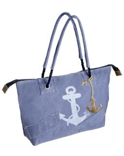 """Gilde Tasche """"Anker"""" blau/weiß, mit Reißverschluss, Kordelgriff + Holzanker 90% Baumwolle 5% Kunstleder 5% Metall H mit Griff 58cm Breite 49,0 cm Höhe 32,0 cm 48447"""
