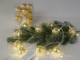 Formano Lichterkette130 10 Kugeln gold 634498