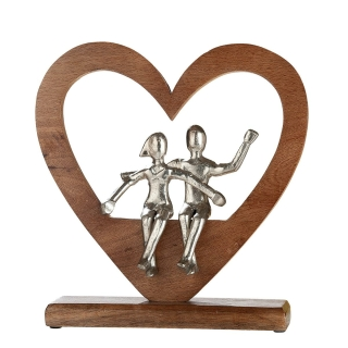 Gilde Herz mit Liebespaar  aus Mangoholz und Aluminium  Länge 8,0 cm Breite 30,0 cm Höhe 30,0 cm 48613