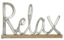 "Gilde Schriftzug ""Relax"" auf Holzbase Base aus Mangoholz Länge 43,0 cm Breite 5,0 cm Höhe 25,0 cm"
