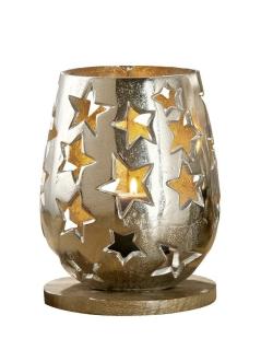 Gilde Windlicht mit Sternen Fuss aus Mangoholz Höhe 23,0 cm Durchm. 16,5 cm 48805