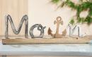 """Gilde Schriftzug """"Moin"""" auf Holzbase Schriftzug aus Aluminium, Sockel + Anker aus Mangoholz Länge 43,0 cm Breite 5,0 cm Höhe 14,0 cm 48811"""