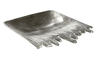 """Gilde Schale """"Fuego"""" silber nicht lebensmittelgeeignet Länge 35,0 cm Breite 35,0 cm 48992"""