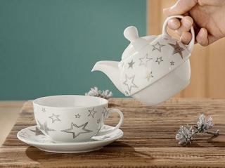 "Gilde Porzell Tea for one ""Silver Stars"" Sterndesign ""Bella Vita""  cm  cm H= 15cm Ø = 16 cm"