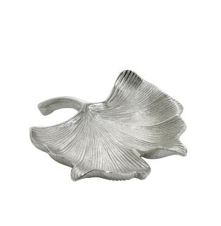 Gilde Schale  Ginkgo  silber, nicht lebensmittelgeeignet L= 18,0 cm B= 20,0 cm H= 4,0 cm 60310