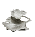 Gilde Doppelschale  Ginkgo  silber, nicht lebensmittelgeeignet L= 30,0 cm B= 34,0 cm H= 9,5 cm 60312