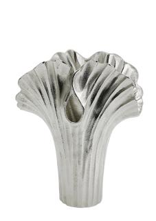 Gilde Vase  Ginkgo  silber, nicht wasserdicht L= 10,0 cm B= 17,5 cm H= 22,5 cm 60329