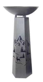 """Gilde Schalenständer """"Bergwelt"""" dunkelbraun bestehend aus Ständer und Schale Höhe 117,0 cm Durchm. 58,0 cm 68344"""