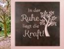 """Gilde Wandrelief mit Baum und Weisheit  """"In der Ruhe liegt die Kraft"""" dunkelbraun L= 1,0 cm B= 60,0 cm H= 60,0 cm 68357"""