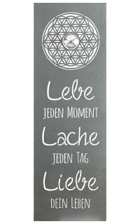 """Gilde Wandrelief """"Lebensblume"""" mit Weisheit und Edelstahlkugel (D 6 cm) """"Lebe jeden Moment Lache jeden Tag Liebe dein Leben""""  grau Länge 3,0 cm Breite 30,0 cm Höhe 90,0 cm 68493"""
