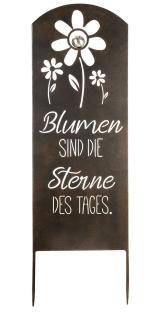 """Gilde Gartenstecker Weisheit """"Blumen"""" mit Edelstahlkugel """"Blumen sind die Sterne des Tages"""" B= 35,0 cm H= 90,0 cm 68570"""