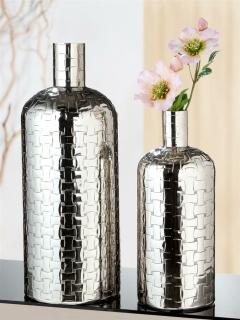 """Gilde Flaschenvase """"Treccia"""" silberfarben, mit Flechtmuster nicht wasserdicht Höhe 40,5 cm Durchm. 16,0 cm 60539"""