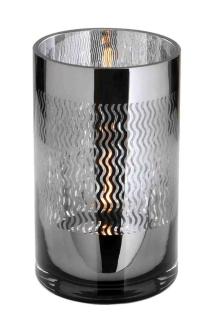 Fink Linio Teelichthalter,Glas,Schw.,Wellen 20X12  cm  115102