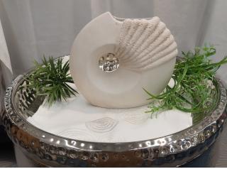 Gilde Keramik flache Vase Fossile