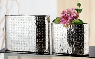 """Gilde Schmale Vase """"Treccia"""" silberfarben, mit Flechtmuster nicht wasserdicht Länge 10,0 cm Breite 43,0 cm Höhe 33,0 cm 60542"""