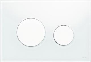 """TECEloop Abdeckplatte 2-Mg.    Glas weiss / weiss   WC-Bet""""tigungsplatte TECEloop fr Zweimengentechnik, fr TECE-Splk""""sten zur Bet""""tigung von vorne und von oben. Flache Glasbet""""tigung mit zwei gefederten Bet""""tigungstasten. Geeignet fr den fl""""chenbndi"""