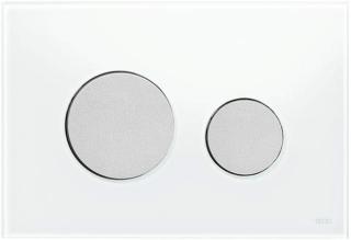 """TECEloop Abdeckplatte 2-Mg.    Glas weiss / mattvc. WC-Bet""""tigungsplatte TECEloop fr Zweimengentechnik, fr TECE-Splk""""sten zur Bet""""tigung von vorne und von oben. Flache Glasbet""""tigung mit zwei gefederten Bet""""tigungstasten. Geeignet fr den fl""""chenbndi"""