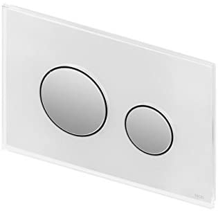 """TECEloop Abdeckplatte 2-Mg.    Glas weiss /glanzvc. WC-Bet""""tigungsplatte TECEloop fr Zweimengentechnik, fr TECE-Splk""""sten zur Bet""""tigung von vorne und von oben. Flache Glasbet""""tigung mit zwei gefederten Bet""""tigungstasten. Geeignet fr den fl""""chenbndi"""