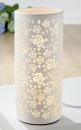 Gilde Runde Lampe Rosen weiß Fassung E 14 max. 40 Watt 220-240V Länge 11,5 cm Breite 11,5 cm Höhe 27,0 cm 32013