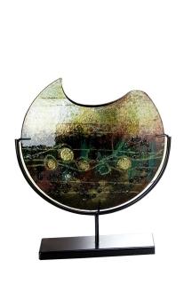 """Gilde GlasArt Deko Vase """"Palude"""" auf schwarzem Metallständer grün, gold L= 32,0 cm B= 9,5 cm H= 37,0 cm 39990"""