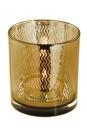 Fink Linio Teelichthalter,Glas,Rose Gold,Wellen 8X7,3  cm...