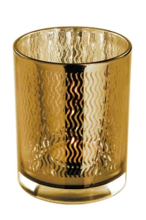 Fink Linio Teelichthalter,Glas,Rose Gold,Wellen 12,5X10 115107