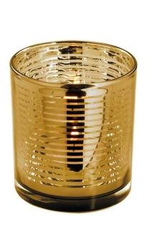 Fink Linio Teelichthalter,Glas,Rose Gold,Streif. 8X7,3 115112