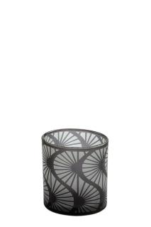 Fink Calana  Teelichthalter  Glas  grau  Höhe 8 cm  Durchmesser 7 cm 115163
