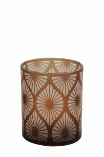 Fink Calana  Windlicht  Glas  braun  Höhe 12 cm  Durchmesser 10 cm 115167