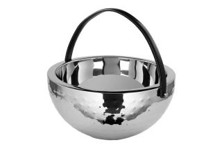 Fink Bol  Punchbowl  Edelstahl   Leder  schwarz  silberfarben  Höhe 22 cm  Durchmesser 43 cm 154016